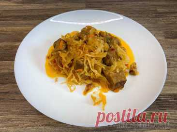Квашеная капуста со свининой Cвинина с квашеной капустойРЕЦЕПТ:300 г. свинины,500 г. квашеной капусты,2 ст. ложки томатной пасты,1 морковь,1 луковица,перец горошком,лавровый лист,100 мл. воды,зелень и соль — по вкусуВИДЕО-РЕЦЕПТ:...