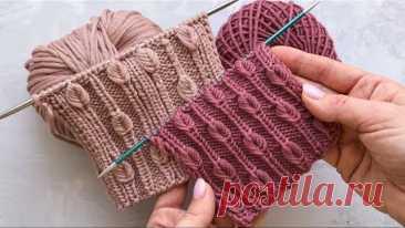 Невероятно красивая резинка с листочками спицами для шапок, жилетов, кардиганов, свитеров, джемпер
