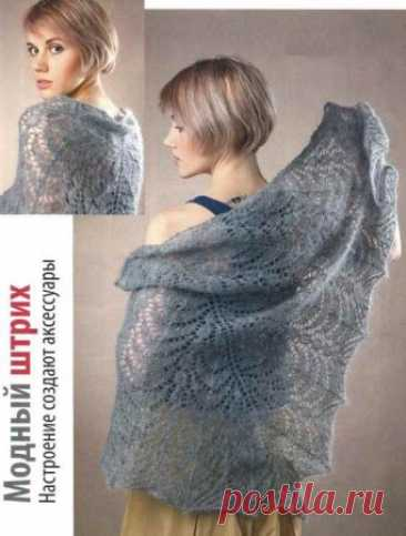 Gray shawl from a mohair