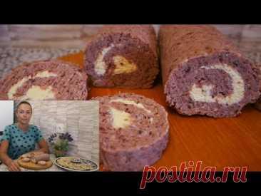 Закусочный рулет из фасоли с грецким орехом и плавленым сырком. Рецепт рулета - YouTube