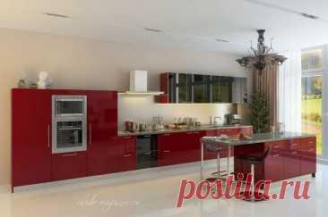 Кухня красного цвета фасады из алюминиевого профиля Шуко купить по цене 35 000 руб. за п/м. в Москве— интернет магазин chudo-magazin.ru