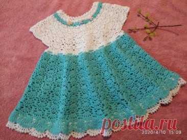 Платье на девочку 1,5-2года связано из 100% хлопка СОСО, крючок 2.0