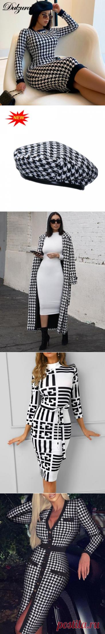 Женское платье миди с принтом «гусиные лапки» Dulzura, облегающее платье с длинным рукавом, Осень зима 2020|Платья| | АлиЭкспресс