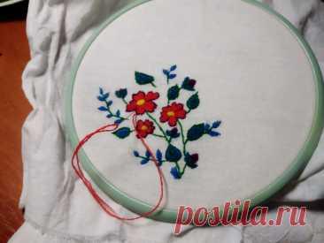 Вышивка гладью — цветы и листочки для декора