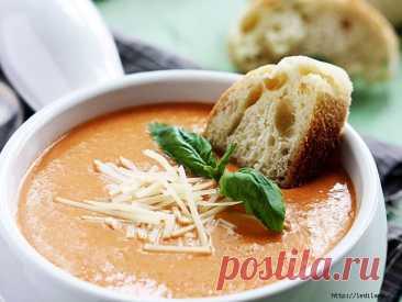Ну, очень вкусный томатный суп с базиликом