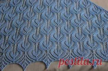 Ажур для шали спицами | Узоры вязания спицами