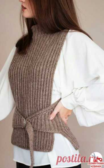 Подбросим вам идею стильной вязаной жилетки