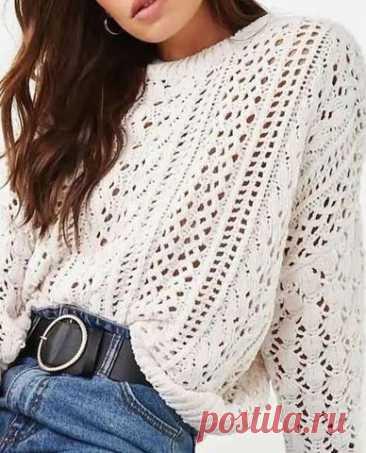 Вязание спицами - Джемпера спицами - Ажурный пуловер спицами. Подбор схем