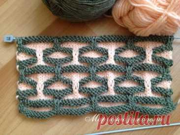 Оригинальный двухцветный узор. Вязание спицами.   Марусино рукоделие   Яндекс Дзен