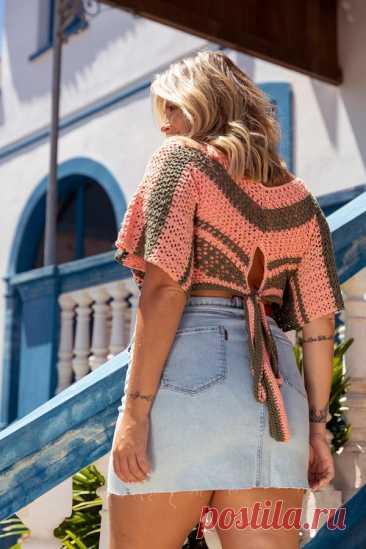 Cropped de Crochê Listrado com Linha Anne - Blog do Bazar Horizonte