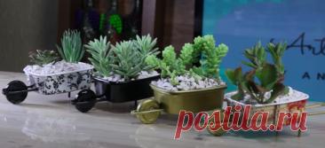 Симпатичная идея для цветов из ненужных контейнеров Своеобразной изюминкой интерьера может стать, например, какое-либо интересное комнатное растение, особенно если оно еще и в необычном горшке. Только взгляните на этим милые миниатюрные тележки с сукку...