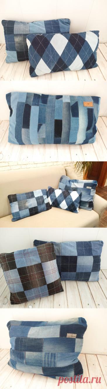 Шью диванные подушки из старых джинсов.   Handmade для всех   Яндекс Дзен