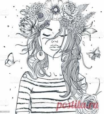 Красивая Девушка С Кофейной Чашкой — стоковая векторная графика и другие изображения на тему Женщины - iStock