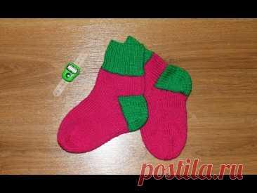 МК Вязанные детские носки спицами 26/27 размер. Классические теплые носочки