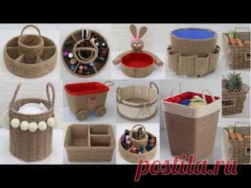10 Amazing Storage Basket Ideas from Waste Materials, Jute Craft Ideas