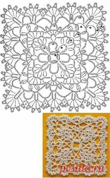 много квадратных мотивов крючком Изумительно красивые квадратные мотивы крючком для создания самых красивых шалей, палантинов, покрывал, шарфов и других вещей.