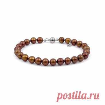 4.800 р-Ожерелье из жемчуга шоколадного цвета