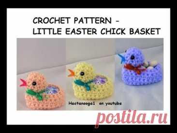 How to crochet a LITTLE EASTER CHICK Egg BASKET, Home decor, Easy crochet for Easter