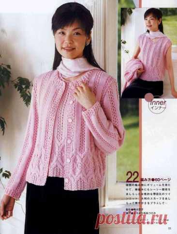 Изящный рисунок, нежно-розовый цвет делают эту двойку неповторимой. Связана спицами по японским схемам