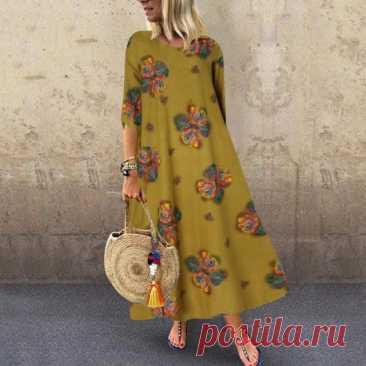 Туника Весна сарафан ZANZEA летние женские 3/4 в богемном стиле с цветочным принтом длинное платье размера плюс платья вечерние платья|Платья| | АлиЭкспресс