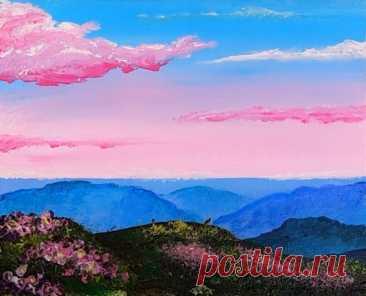 Рисуем пейзаж с розовыми облаками