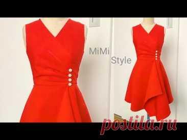 @MiMi style : Thiết kế váy xếp ly, eo đính hạt trai, bèo vuông| Sewing pattern