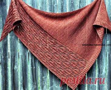 Шаль спицами с ажурным краем. Схемы вязания шалей спицами