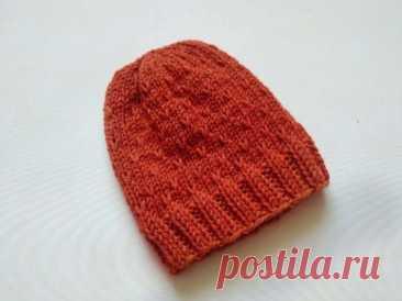 Вяжем шапку узором, основанным на лицевых петлях » «Хомяк55» - всё о вязании спицами и крючком