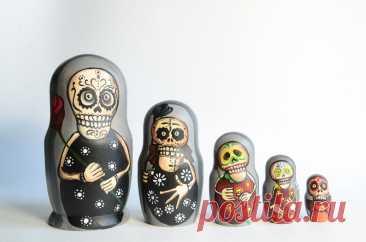Русская Матрешка Бабушка Деревянные вложенные куклы Череп   Etsy