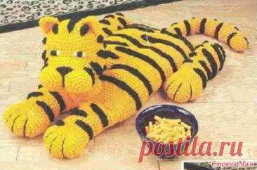 "Подушка "" Тигр"" крючком. - Вязание"