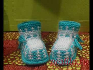 вязание спицами пинетки #112