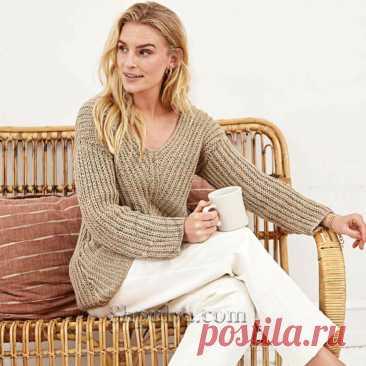 Бежевый хлопковый пуловер с полупатентным узором