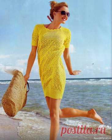 Желтое платье-баллон спицами   Вязание для женщин спицами. Схемы вязания спицами Универсальное платьице с юбкой баллон желтого цвета очень яркое и весеннее-летнее. В таком платье любая девушка будет выглядеть молодо, задорно и великолепно. Размеры: 36/38, 40/42, 44/46.Описание моделиВам потребуется:550 (600) 650 г жёлтой пряжи Bingo (100% хлопка, 125 м/50 г);спицы № 3...