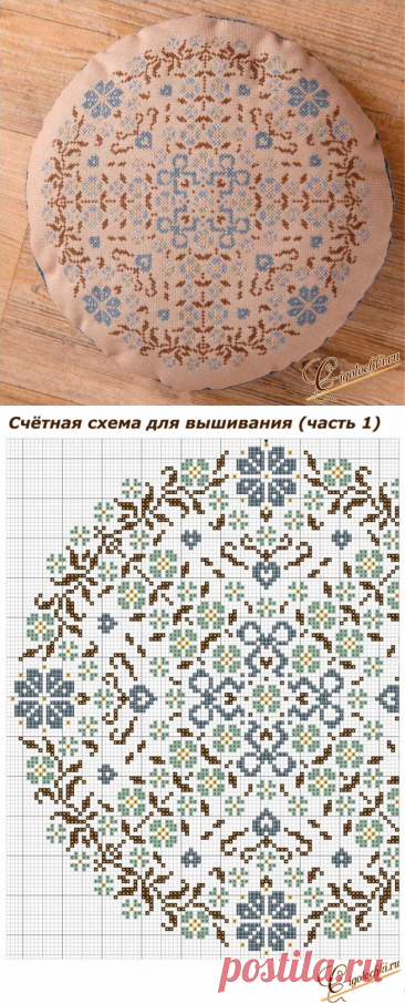 How to embroider with a cross an ideal set of pillows: round pillow