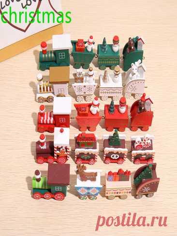 Деревянный Рождественский маленький поезд, рождественские украшения, Рождественский Декор для дома, с новым годом 2022, креативные детские подарки, игрушки | Дом и сад | АлиЭкспресс