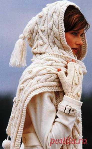 Как связать капюшон спицами для начинающих 🥝 вязаный капор, шарф, схемы с описанием