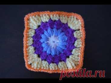 Квадратный мотив крючком+мотив для мыска вязаной из квадратов обуви / Crochet square