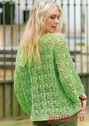 Пуловер оверсайз с фантазийным узором — Shpulya.com - схемы с описанием для вязания спицами и крючком