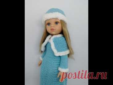 """Платье Снегурочки крючком для куклы Карлы от """"Паола Рейна"""": видео-МК"""