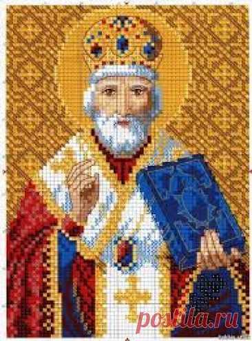 Св.Никола Чудотворец. Цветная Схема для вышивки крестиком бисером