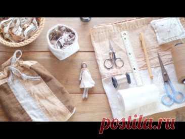 ТКАНИ (шторы, простая двухслойная сумка и мини-кукла)