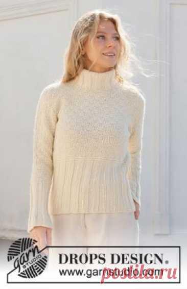 Джемпер Ванильный край Теплый женский свитер с двойным воротником и теневым узором, связан спицами 4.5 мм и 5 мм по приведенным в описании...