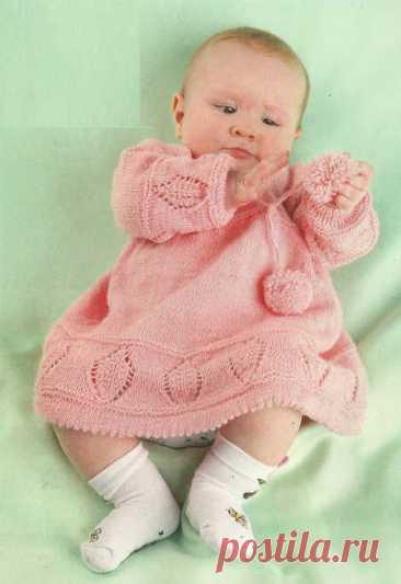 Розовое платье для девочки 4-6 месяцев - вязание спицами