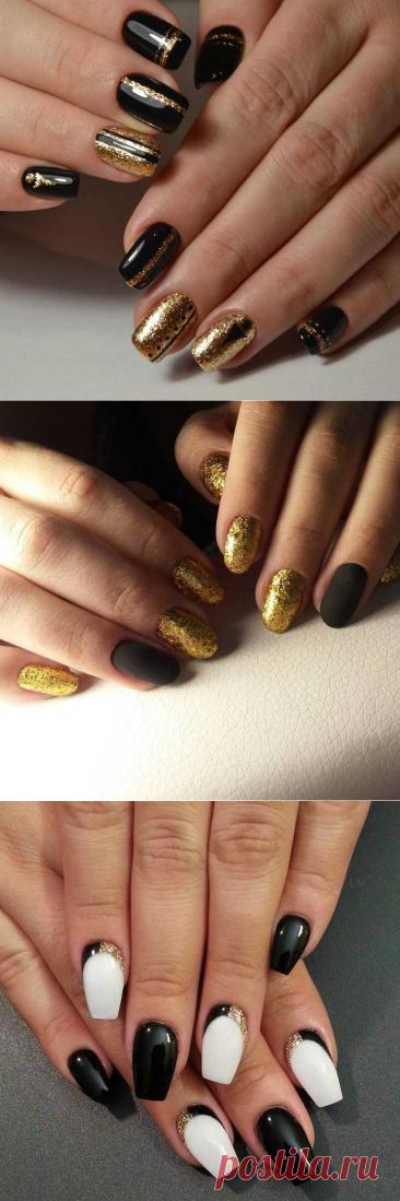 Черно-золотой маникюр: 100 фото лучших идей применения и варианты модного дизайна
