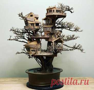 Крохотные домики на деревьях бонсай от умельца Дейва Крика