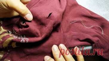 Как незаметно и аккуратно зашить дырку в одежде Отремонтировать порванную одежду не так сложно, как может показаться. Если следовать нескольким простым советам, то зашить дырку сможет даже человек совершенно не имеющий навыков шитья. Чтобы все получилось, достаточно просто использовать скотч.Что потребуется:нитка в тон одежды;тонкая