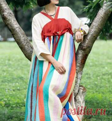 Women vintage dress ramie dresses with pockets plus size | Etsy