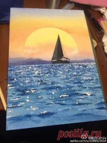 Рисуем море и парусник на закате