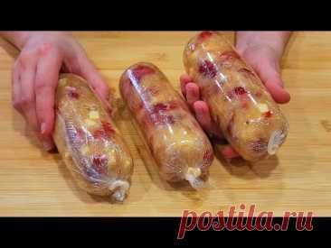Вот самый простой рецепт домашней колбасы, рецепт вкусный и легкий. # 117