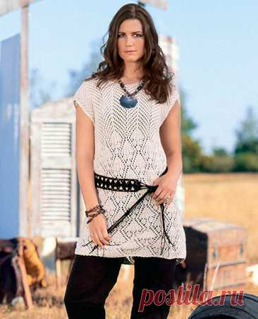 Туника прямого силуэта спицами – 3 модели вязания со схемами и описанием — Пошивчик одежды